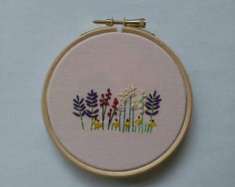 Flower Field Embroidery Hoop Art
