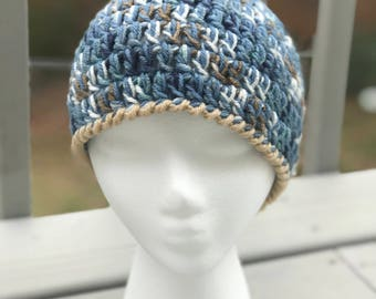 Blue, White, Beige Crochet Beanie