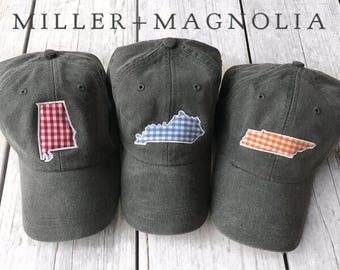 State Outline Cap with Monogram   ANY STATE    Monogram Ball Cap   Monogram Cap   Monogram Hat   Monogrammed Cap