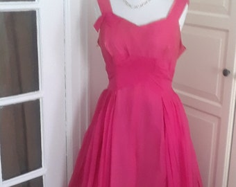1950s Cherry Pink Chiffon Party Dress, Tea Length, Low Back, Size Medium, 38B/30W, As Is