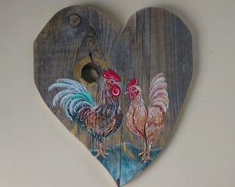Moonlight Serenade Rooster Painting, Tropical French ROOSTER Meets HEART of the HOME in Barn Wood, Original Rooster Art by Susana Caban