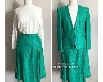 60s Textured Sea Green Skirt Suit