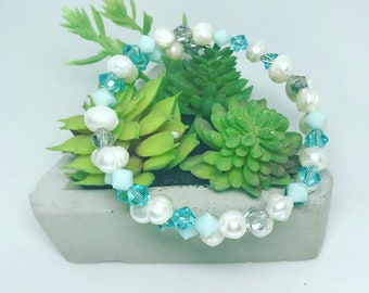 Pearl and Teal Swarovski Crystal Bracelet