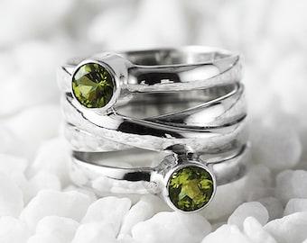 Peridot Ring August Birthstone Gemstone Ring Peridot Birthstone Ring Peridot Jewelry Silver Ring Womens Ring Gift For Her 5mm Round Peridot