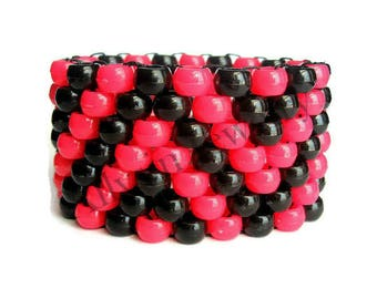 Pink, Black Kandi Cuff, Kandi Bracelet, Neon Zigzag Cuff, Raver Plur Zig Zag, Edm Jewelry