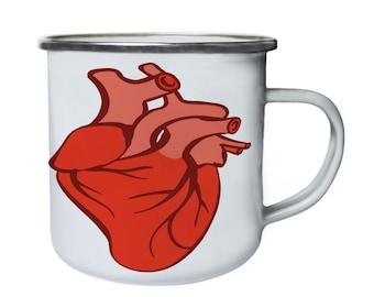 Anatomically correct heart,Tin, Enamel 10oz Mug v957e