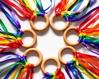 10 Rainbow Hand Kites / Rainbow Wood Hand Kite / Creative Play / Creative Dance / Waldorf Toy / Montessori Toy / Children's Kite