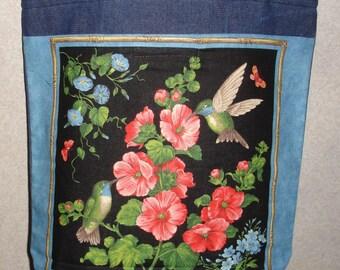New Handmade Large Hummingbird Spring Flowers Panel #2 Denim Tote Bag
