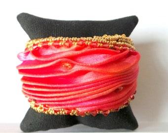 Bracelet esclave soie et cristal
