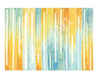 Color Study Oranges and Blues No. 2 Watercoor - Giclee Print