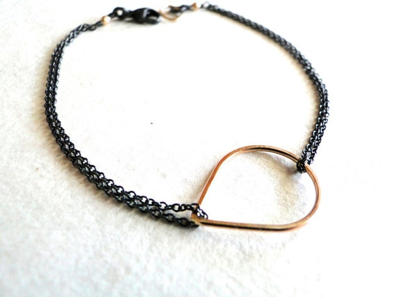 Floating Drop Bracelet - Black and Gold