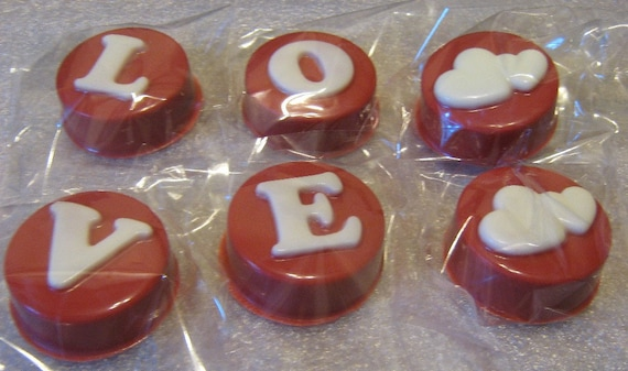 Chocolate covered sandwich cookies valentine wedding love design with hearts