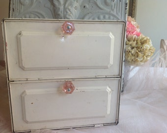 Antique shabby chippy creamy white galvinized metal farmhouse cottage pink knobs pie safe