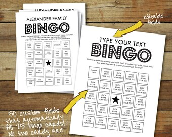 Bingo Cards - Custom Bingo Cards - type your own text - cards fill automatically - 25 unique bingo cards - instant download pdf - bingo game