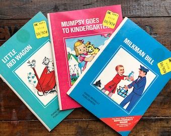 Little Red Wagon, Mumpsy Goes To Kindergarten & Milkman Bill ~ Start-Right Elf PB Books ~ Vintage ~ (#176)
