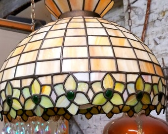 Vintage Stained Glass Lamp, Tiffany Style Hanging Lamp, Tiffany Pendant light