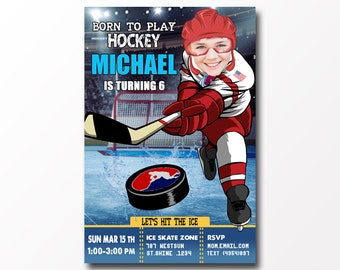 Hockey Birthday Party Invitation with Photo,Hockey Birthday Invitations,with photo, Hockey Invitation,Hockey Birthday,Hockey Party,Hockey