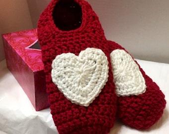 Women's Slippers Sz 9/10, Crochet Slippers Wms, Heart Slippers, Gift Boxed Slippers, Crochet House Shoes