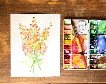 """Snapdragon flower watercolor, 8x10"""" print, hand painted, wall art, watercolor painting, floral art"""