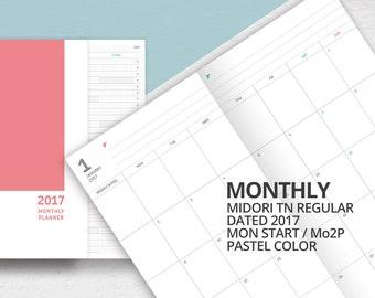 2017 Midori Travelers Notebook Regular Size Insert/Mo2p/Printable Dated Monthly Planner Insert/Monday Start/2017 Monthly Calendar, Scheduler