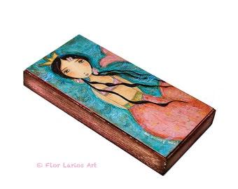 Caminando Sobre el Mar Mermaid -  Giclee print mounted on Wood (3 x 6inches) Folk Art  by FLOR LARIOS