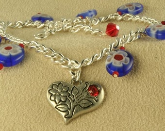 Handmade Blue Flower and Silver Heart Anklet