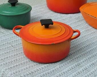 Orange pan Dutch oven Le Creuset FRANCE / enameled pan Casserole dish pot  / Holy10