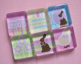 Easter Refrigerator Magnets, Set of 6 Glass Tile Fridge Magnets with Storage Tin