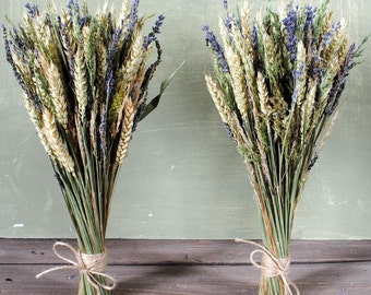 Rustic bouquet with lavander, wheat, grass, dried flowers, woodland bouquet, rustic home decor wild herbs shabby, country, old cottage style
