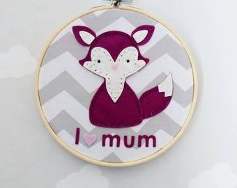 "Wall decoration ""I love mum-volpi"" in 100% wool felt"