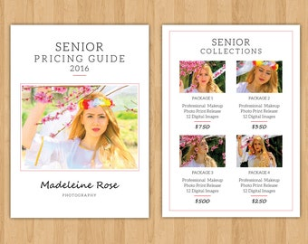 Senior Photography Price List Template | Photography Pricing Guide | Senior Marketing | Instant Download