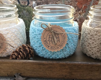 Crochet 100% Cotton Mason Jar Cozy for Collection Elite Series Wide Mouth Pint 16 oz jars in Cream, Robin's Egg Blue and Country Tan