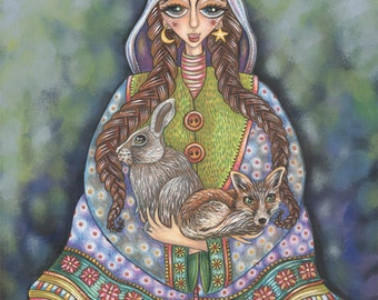 """Beatrix, Balnora and Baynor - a whimiscal 8 x 10"""" ART PRINT of a quirky trio of pals being a sweet gentle girl, a red fox and a hare"""