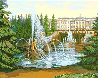 Instant Download Counted Cross Stitch Chart PDF Pattern N81ld - Peterhof Palace
