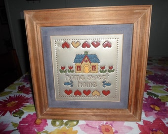 Vintage Punched Tin Framed Home Sweet Home