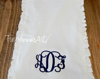 Monogram Ruffle Burp Cloth in White for Infant Baby Girl