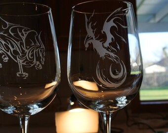 dragon on large wine glass or  phoenix on large wine glass sold separately