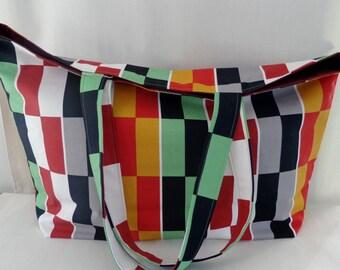 Beach BAG, Extra Large Tote, Market BAG, Diaper Bag, Shopping Bag, Work Purse, Knitting Bag, IKEA Multi-colored Blocks