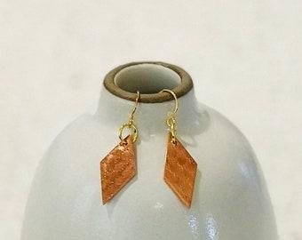 Textured Copper Diamond Earrings