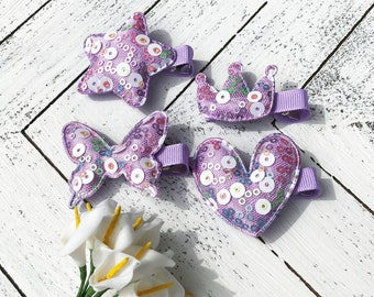 U pick purple fringe hair clip for girls toddler barrettes baby barrette non slip fully lined sparkly