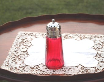 Cranberry Sugar Shaker Silver Glass Muffineer English Caster Victorian