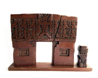 """Vintage Hand Carved Wooden Tiki Plaque Table Art Carving Aztec Myan - Southwestern Polynesian Hawaiin - Collectible - Home Decor - 12"""" x 8"""""""