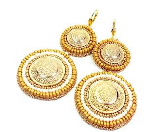 Embroidery Earrings Beadwork Earrings Gold Earrings White Earrings Earrings Bead embroidery jewelry