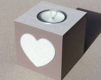 Painted wooden Square candle holder, taupe and ecru