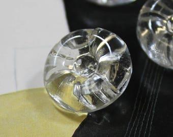 Glass Buttons 4 Clear Glass 11/16 Shank Buttons