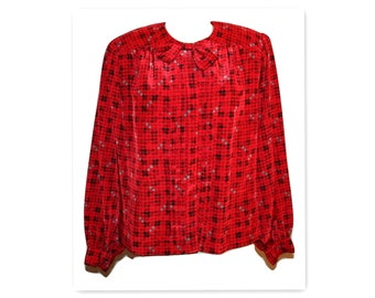 1980s Cormani Collection Red Plaid Pleated Front Vintage Blouse