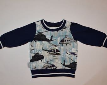 Baby sweater, helicopter sweater, boys sweater,