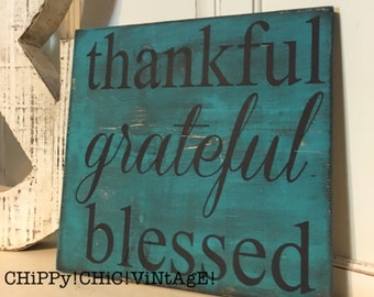 Wooden Sign, Thankful Grateful Blessed, Dark Turquoise, Living Room Decor, Distressed, Rustic, Home Decor, Reclaimed Wood, Inspirational