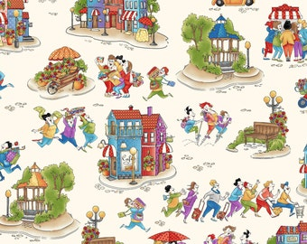 "End of Bolt, Cream Shop Hop Scenic Fabric from the Shop Hop Collection by Bonnie Krebs for Henry Glass, 27""x44"""
