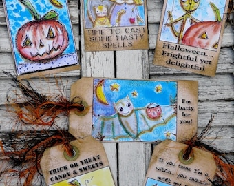 2013 Halloween Tags witch pumpkin pdf - Collage Paper Sheet NEW art vintage saying sayings prim atc scrapbooking primitive